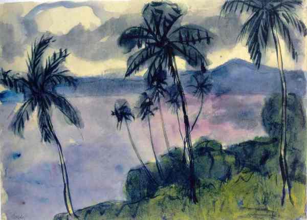 Emil Nolde. Palmen am Ufer. Acuarela. 1913 1914