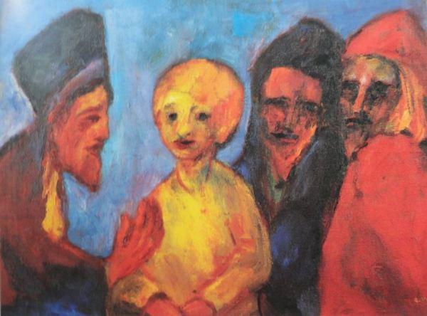 Jesús entre los doctores. Emil Nolde. Óleo. 1951