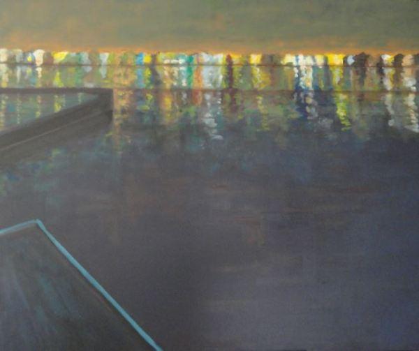 La noche de la ría.  Acrílico y óleo sobre tela. R. Puig 2014