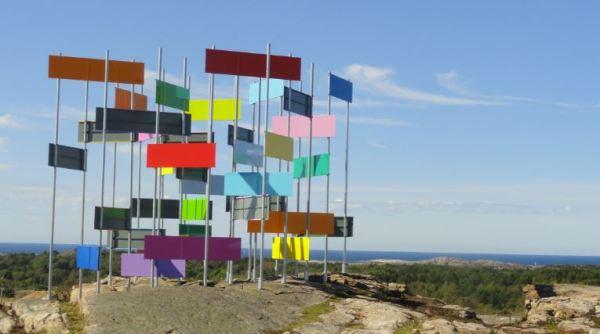 Rectangulos horizontales y la conciencia de la perfeccion.  Jacob Dahlgren.  Suecia. Aluminio lacado. Pilane 2014. Foto R.Puig