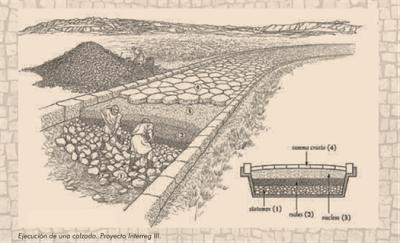 Construccion de calzada romana. Proyecto Interreg III