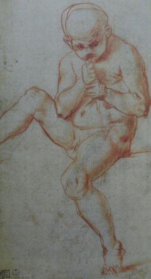 Estudio de muchacho que sopla por una caña. Jacopo Pontormo. Uffizi.