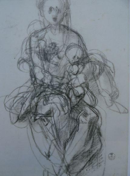 Estudio para la Virgen con el Niño. Jacopo Pontormo. Uffizi.