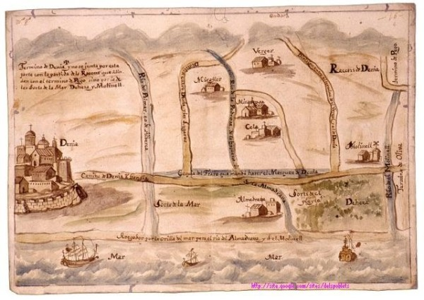 La costa de Denia a Oliva 1718. Archivo del Reino de Valencia