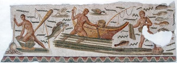 La pesca en época romana. Mosaico Museo del Bardo. Tunez. Fuente Wikimedia