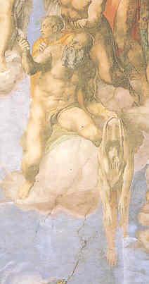 Autorretrato de Miguel Angel sobre el pellejo de San Bartolome. Juicio Final