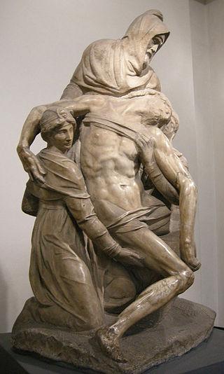 La Pietà Bandini con Miguel Ángel como Nicodemo. Fuente Wikipedia