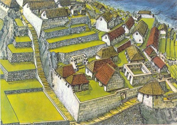 Machu Picchu. Dibujo reconstrucción de Luis Ccosi Salas