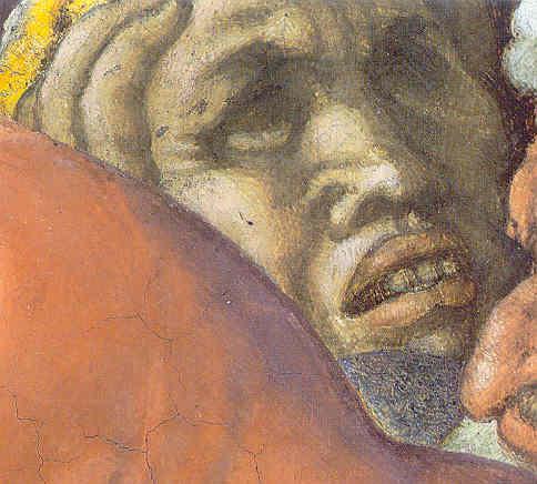 Personje con mesiodiente. Escena de la serpiente de bronce. Capilla Sixtina.