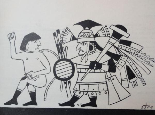El cautivo de guerra. Cultura Mochica. Perú 200 a 700 d.C. Dibujo Jimenez Borja