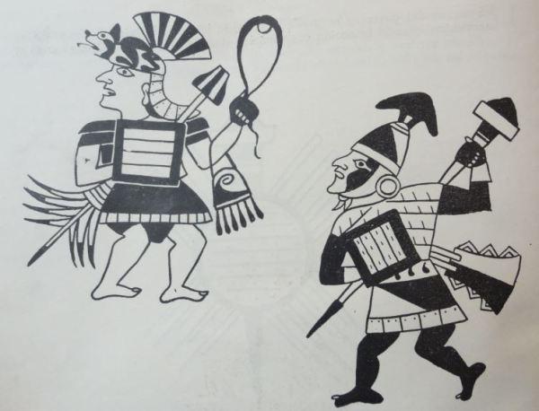Escena de guerra con hondero. Cultura Mochica. Perú 200 a 700 d.C. Dibujo Arturo Jiménez Borja