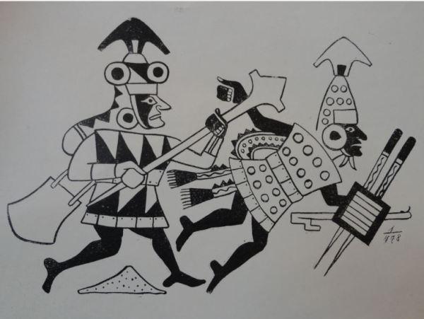 Escena de guerra. Cultura Mochica. Perú 200 a 700 d.C. Dibujo de Arturo  Jimenez Borja