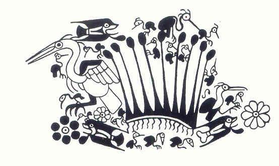 Fauna de los totorales. Cultura Mochica. Perú 200 a 700 d.C. Dibujo Arturo Jiménez Borja
