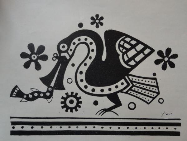 Imagen ave marina. Cultura Mochica.Perú 200 a 700 d.C. Dibujo Arturo Jiménez Borja