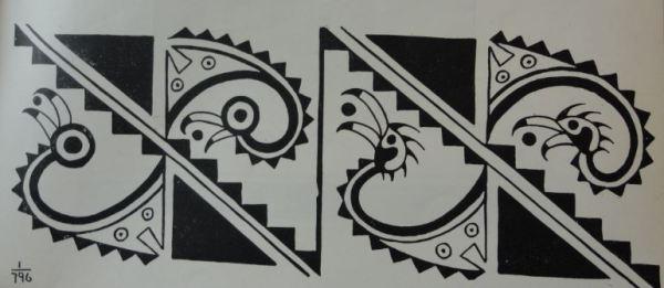 Imagen de aves marinas. Cultura Mochica.Perú 200 a 700 d.C. Dibujo Arturo Jiménez Borja
