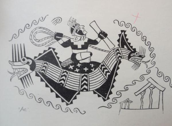 Imagen de barca de totora. Cultura Mochica. Perú 200 a 700 d.C. Dibujo Arturo Jiménez Borja