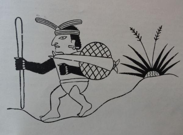 Imagen de caminante. Cultura Mochica.Perú 200 a 700 d.C. Dibujo Arturo Jimenez Borja