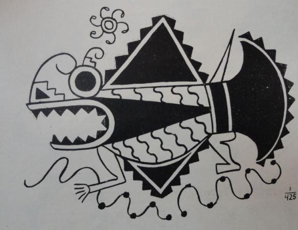 Imagen de pez en la red. Cultura Mochica.Perú 200 a 700 d.C. Dibujo Arturo Jiménez Borja