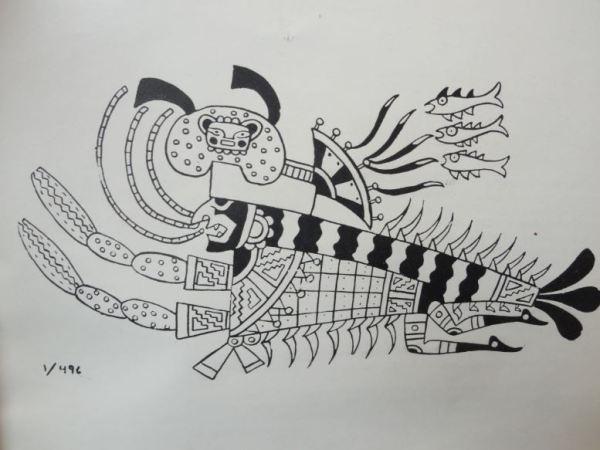Imagen del Rio. Cultura Mochica.Perú 200 a 700 d.C. Dibujo Arturo Jiménez Borja
