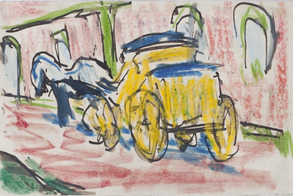 Karl Schmidt Rottluff. Horse and carriage.1910. Lapiz y tinta