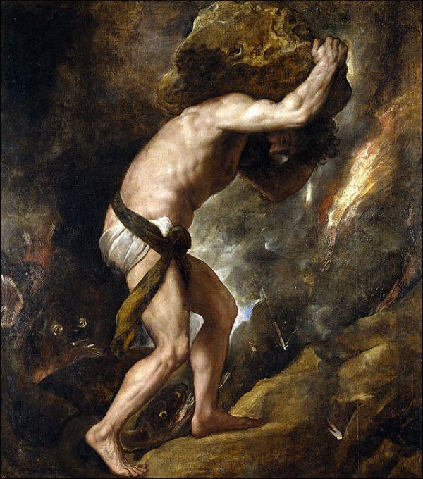 Sísifo. Tizianno 1549. Museo del Prado.