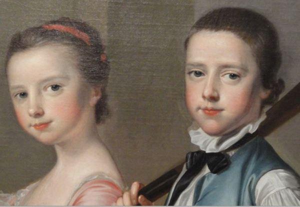 Thomas Hudson hacia 1756. La Sra. Mitchell y sus hijos Anne y Matthew. Detalle