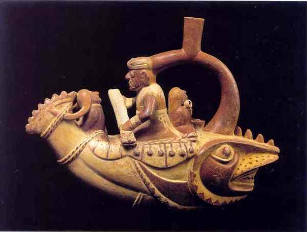Vaso en forma de navegante sobre caballito de totora. Cultura Mochica. Lima Museo del Banco Central de Reserva