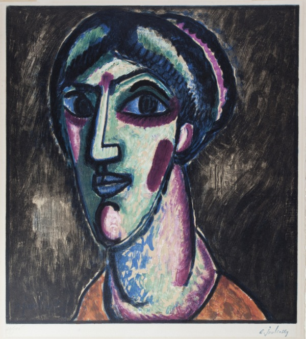 Von Javlenski. Head in black and green. Museo de Leicester. Colección Hess