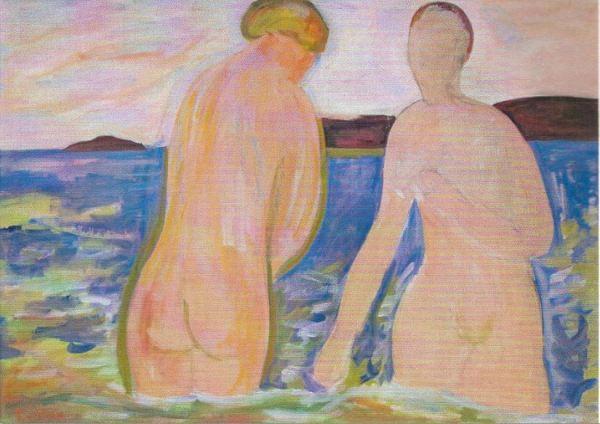 Dos bañistas. Tor Bjürström. Óleo sobre lienzo