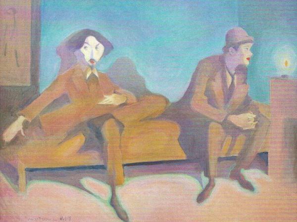 Einar Jolin e Isaac Grünewald en Paris. Einar Nerman. Óleo sobre panel