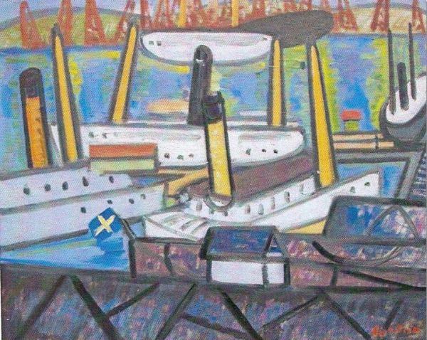 El puerto de Gotemburgo. Tor Bjürström. Óleo sobre lienzo