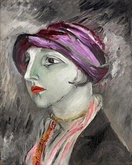 El sombrero violeta. Sigrid Hjertén. Probable autorretrato. 1923. Fuente Art Now and Then