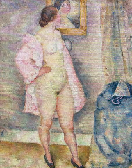 La bata rosa. Arthur Percy.1915. Óleo sobre lienzo