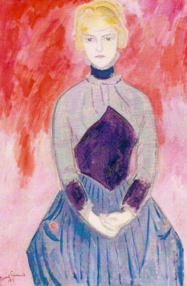 La dama azul. Isaac Grünewald. 1917. Óleo sobre lienzo