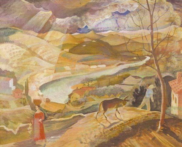 Leander Engström. Paisaje italiano. El Arno cerca de Compiobbi c.1922. Óleo sobre lienzo. Exposición Fahlnaes
