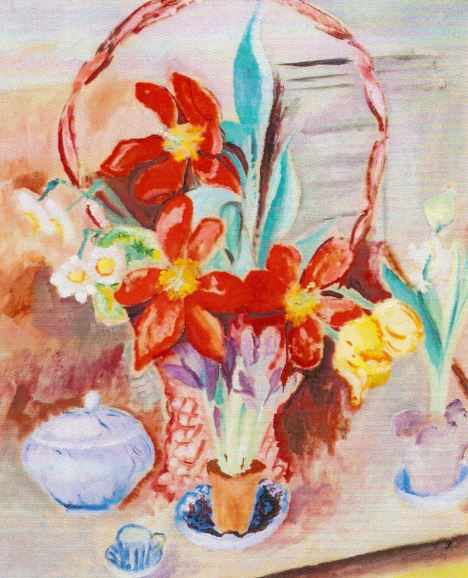 Tulipanes en la cesta de flores. Sigrid Hjertén. 1917. Óleo sobre lienzo