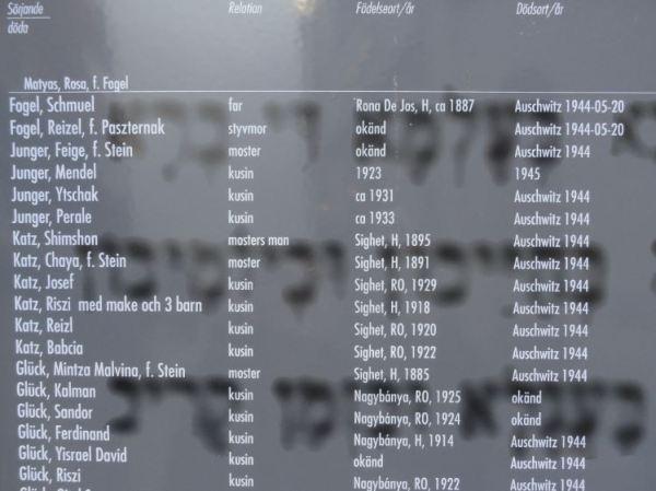 Detalle del memorial de familiares asesinados de los judíos que llegaron a Gotemburgo en 1945. Foto R.Puig