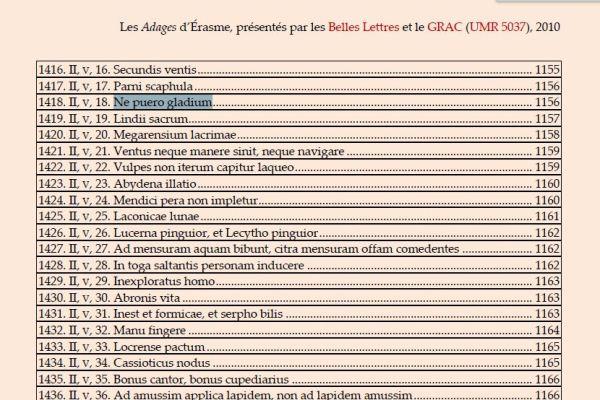 Ne puero gladium. Index Adagia. Belles Lettres
