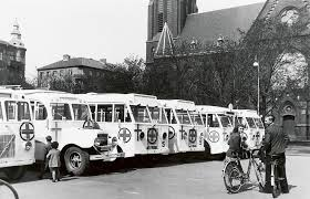Vita bussar 1945. Fuente omnibus.se