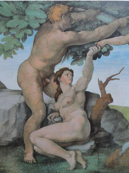 Verde. Adán y Eva. La tentación. Sixtina