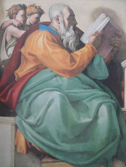 Verde. El profeta Zacarías. Capilla Sixtina. Bóveda