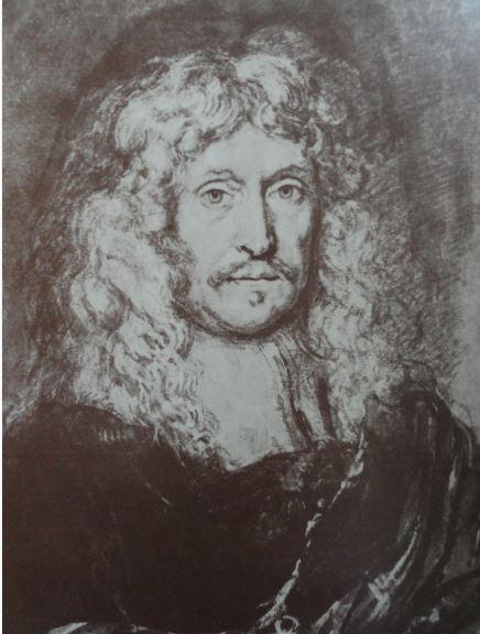 Autorretrato. Aguada marrón sobre tiza negra con toques de blanco. Joachim von Sandrart. s.XVII.  Hermitage.