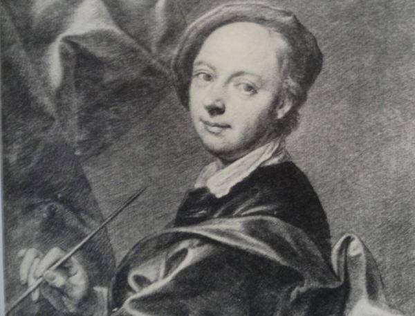 Autorretrato. Tizas blanca y negra sobre papel azulado. Detalle. Jan Kupecky ss. XVII y XVIII.  Hermitage.