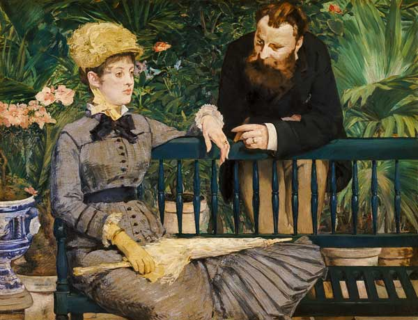 El matrimonio Guillemet en el invernadero. Edouard Manet. Fuente www.repro tableaux.com