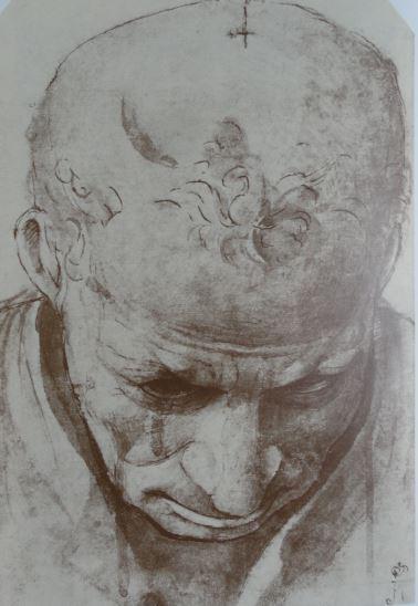Estudio para cabeza de anciano. Pluma y aguada marrón. Piero di Cosimo. ss. XV y XVI. Hermitage.