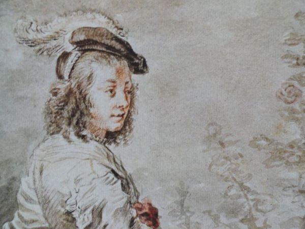 Joven con boina. Piedra negra, sanguina, aguada negra y acuarela. detalle.  Atribuido a Jan Boeckhorst. Siglo XVII. Hermitage.