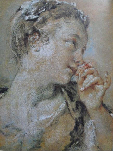 La joven de la rosa. Piedra negra, sanguina y pastel sobre papel marrón. 1747. François Boucher. Hermitage.