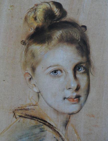 La joven del abanico. Lápiz italiano y pastel sobre papel gris. Franz von Lenbach. ss.XIX a XX. Hermitage