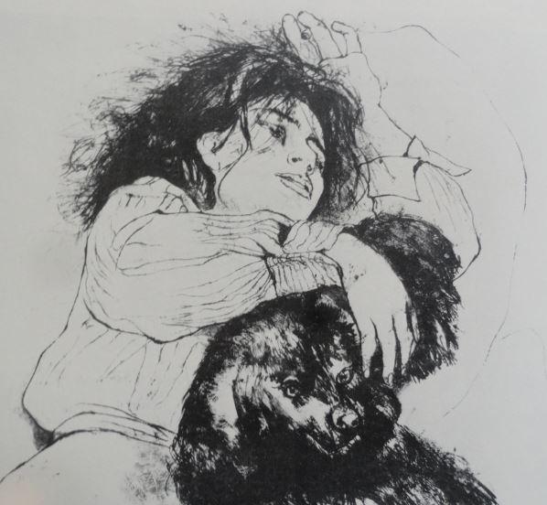 La joven y su perro. Pincel y tinta china. Anna Salvatore. 1956.Hermitage.