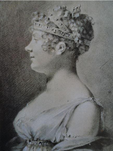 Madame Tayllerand. Piedra negra y blanca sobre papel gris. 1806.  Pierre-Paul Prud'hon. Hermitage.